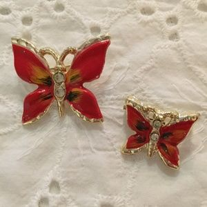 Two vintage red and gold butterfly pins